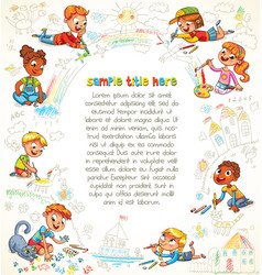 Cute children paint picture together vector