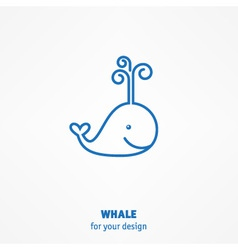 Cute whale icon vector image