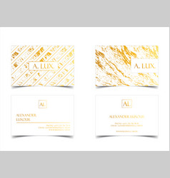 Elegant white luxury business cards with marble vector