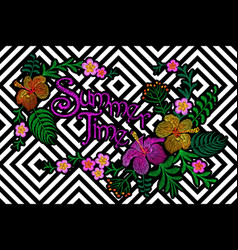 embroidery floral patch summer exotic tropical vector image