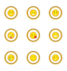 face with different emotions icons set vector image