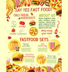 fast food restaurant snacks menu template vector image