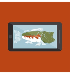 flat design with big mouth bass vector image