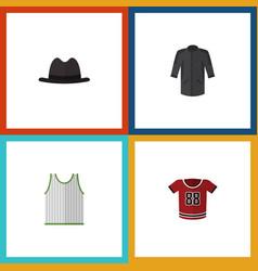 flat icon clothes set of singlet t-shirt uniform vector image vector image
