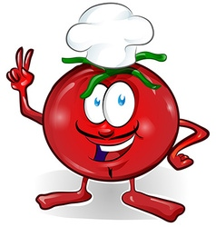 fun tomato chef cartoon vector image