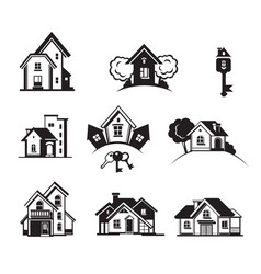 Houses black icon set vector