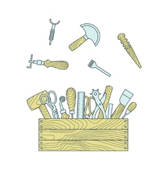Leather craft tools in toolbox vector image