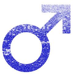 Male symbol grunge textured icon vector