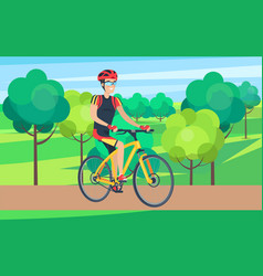 man in cycling clothing on bicycle vector image vector image