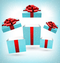 opened blue gift boxes on blue vector image vector image