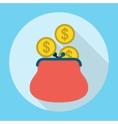 Penny in Purse Icon vector image