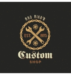 Retro Bicycle Custom Shop Label or Logo vector image vector image