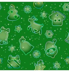 Seamless pattern for Christmas on green background vector image