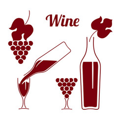 Set of wine symbolswine pouring from a bottle vector
