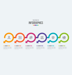 Six steps timeline infographic template with vector