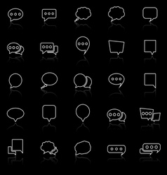 Speech Bubble line icons with reflect on black vector image vector image