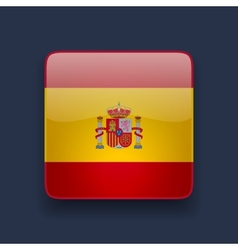 Square icon with flag of Spain vector image vector image