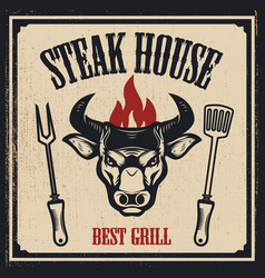 Steak house banner template bull head with fire vector