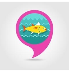 Tuna pin map icon fishing vacation vector
