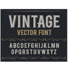 Vintage label font retro font vector