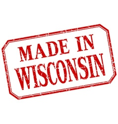 Wisconsin - made in red vintage isolated label vector
