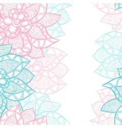Floral border with abstract hand drawn flowers vector