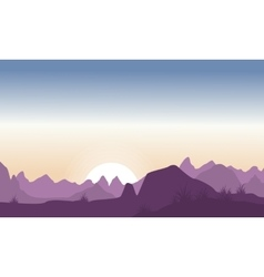Silhouette of hill beauty landscape vector