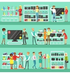 Smiling People In Electronic Store Shopping For vector image