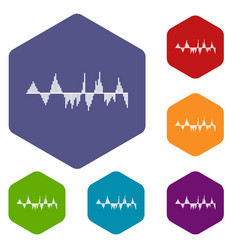 Audio digital equalizer technology icons set vector