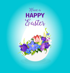 Easter spring flowers paschal egg greeting vector