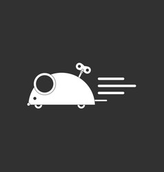 White icon on black background clockwork mouse toy vector