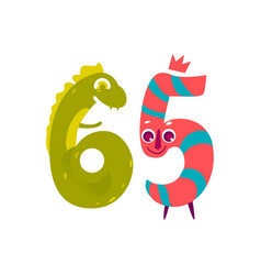 Animallike character number sixty five 65 vector