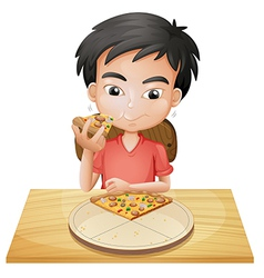 A boy eating pizza vector image