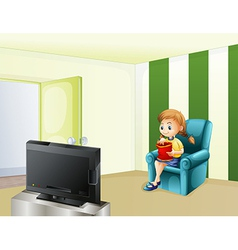 A girl watching tv while eating vector