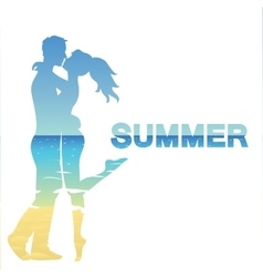 Young couple and ocean landscape vector