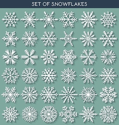 Set 36 white different snowflakes handmade with vector