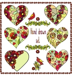 Set of six hand drawn hearts with floral frame vector
