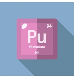Chemical element plutonium flat vector