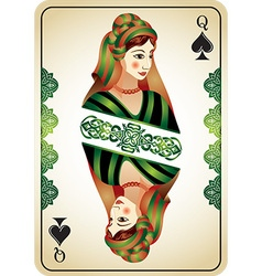 Queen of spades from a pack of playing cards vector