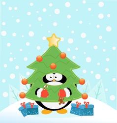 Tree Costume Penguin vector image