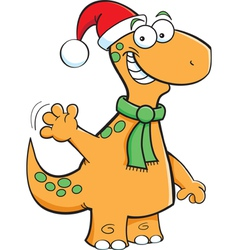 Cartoon Brontosaurus Santa vector image