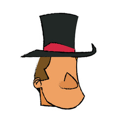 Cartoon host man with top hat circus festival vector