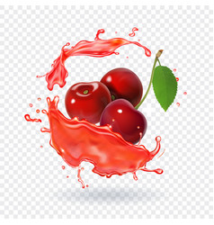 cherry juice realistic fresh berry fruit splash vector image vector image