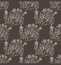 Dark wild thyme seamless pattern vector