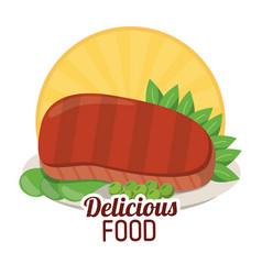Delicious food beef steak tasty vegetables sticker vector