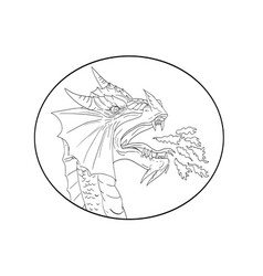 dragon fire circle drawing vector image vector image