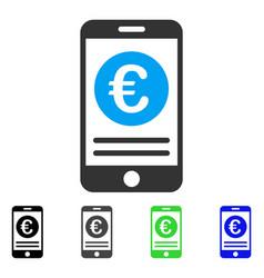euro smartphone banking flat icon vector image vector image