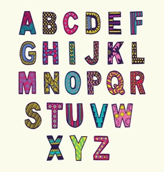 Font in doodle style letters set vector