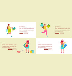 four set of pages shopping vector image