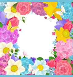 Frame with colorful spring flowers for your design vector